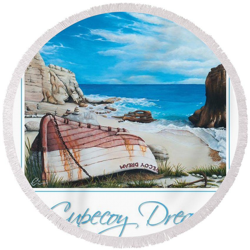 St. Maarten Round Beach Towel featuring the painting Cupecoy Dream Poster by Cindy D Chinn