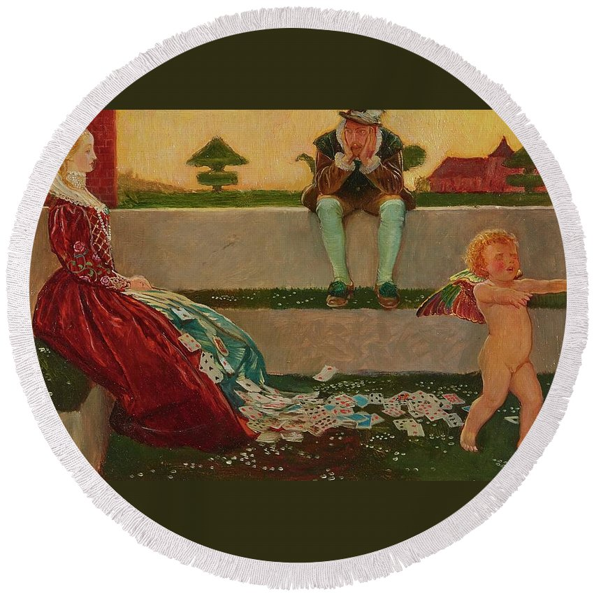 John Liston Byam Shaw A.r.w.s. Round Beach Towel featuring the painting Cupid And Campaspe by MotionAge Designs