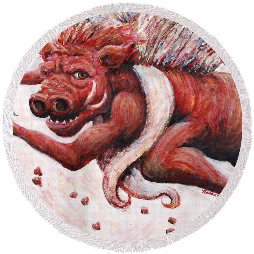 Pig Round Beach Towel featuring the painting Cupig by Nadine Rippelmeyer