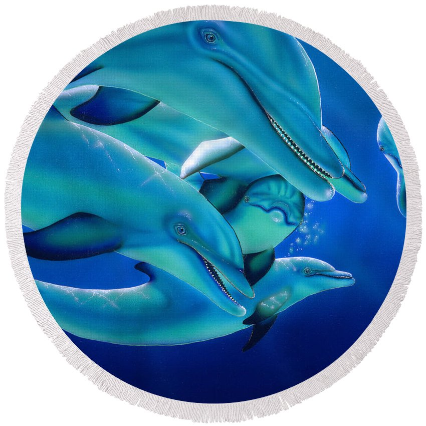 Dolphins Round Beach Towel featuring the painting Curiosity by Angie Hamlin