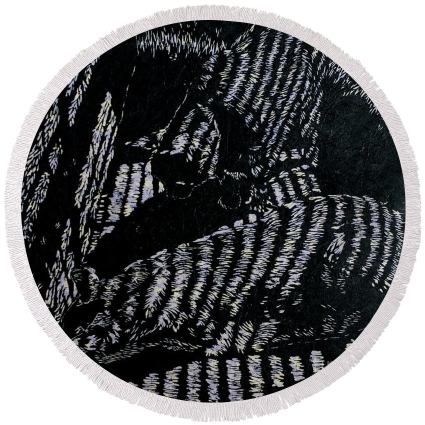 Woodcut Round Beach Towel featuring the mixed media Curious Cats by Jackie MacNair
