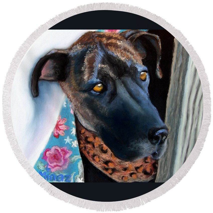 Great Dane Round Beach Towel featuring the painting Whats Going On? by Minaz Jantz