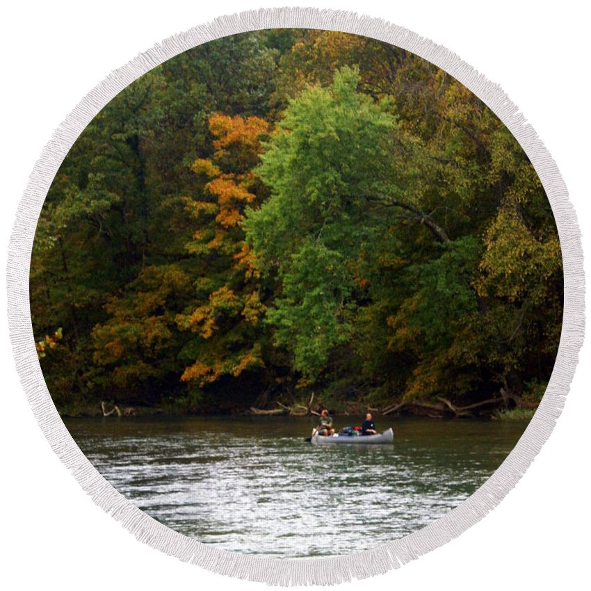 Current River Round Beach Towel featuring the photograph Current River 2 by Marty Koch