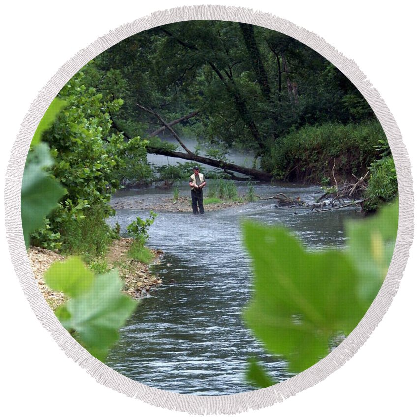 Current River Round Beach Towel featuring the photograph Current River 5 by Marty Koch
