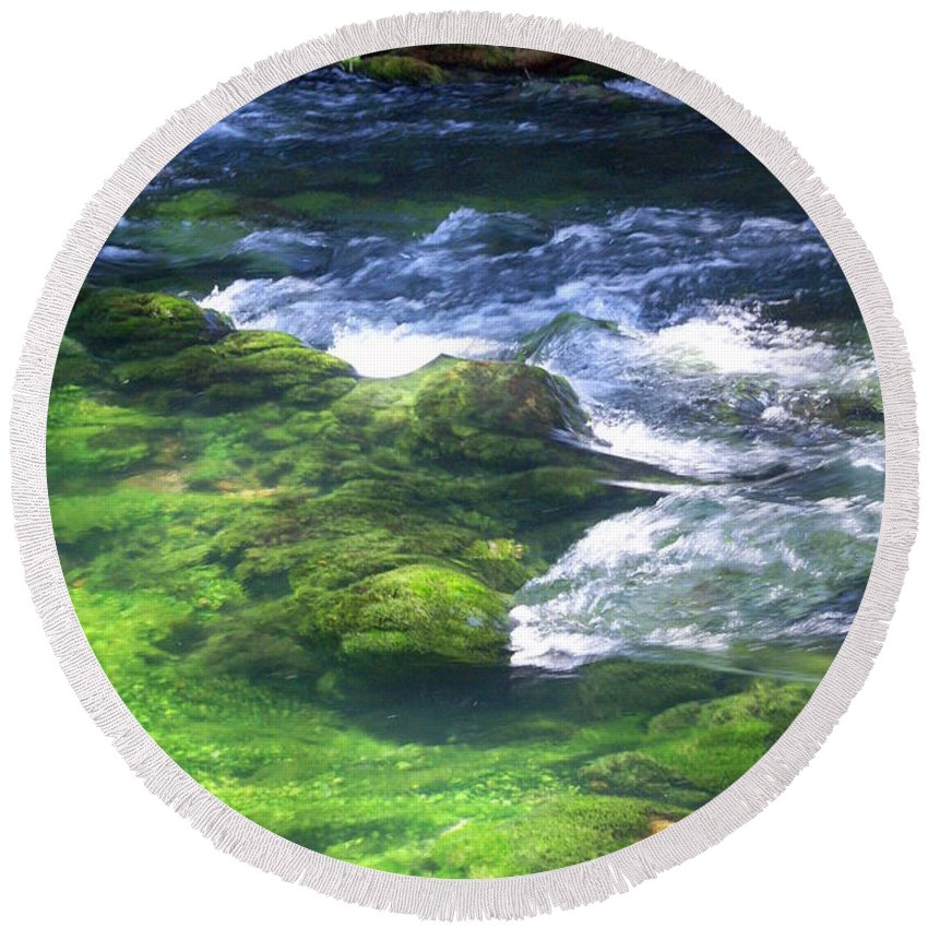 Current River Round Beach Towel featuring the photograph Current River 8 by Marty Koch