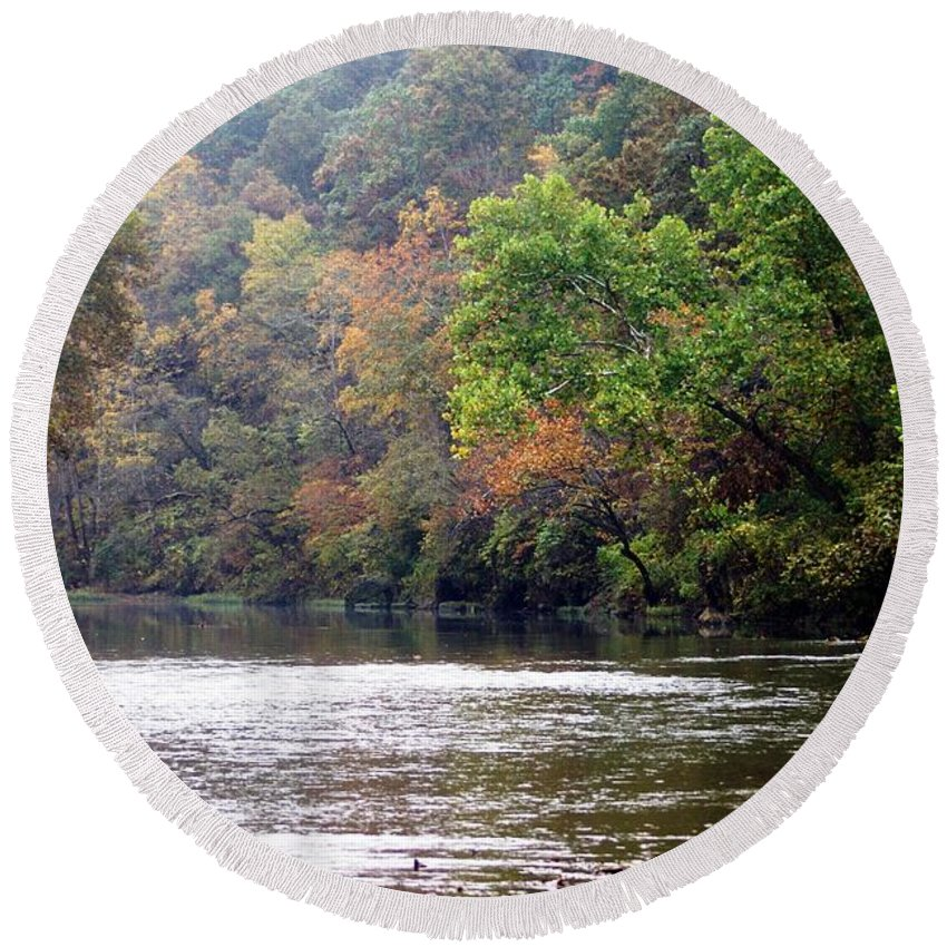 Current River Round Beach Towel featuring the photograph Current River Fall by Marty Koch