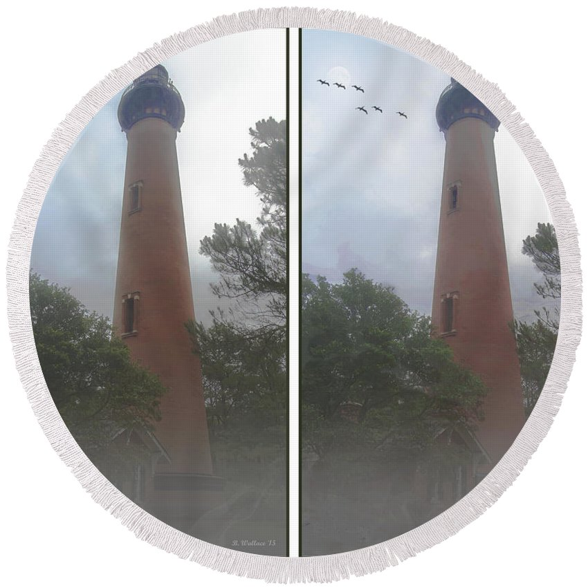 3d Round Beach Towel featuring the photograph Currituck Beach Light Station - 3d Stereo Crossview by Brian Wallace