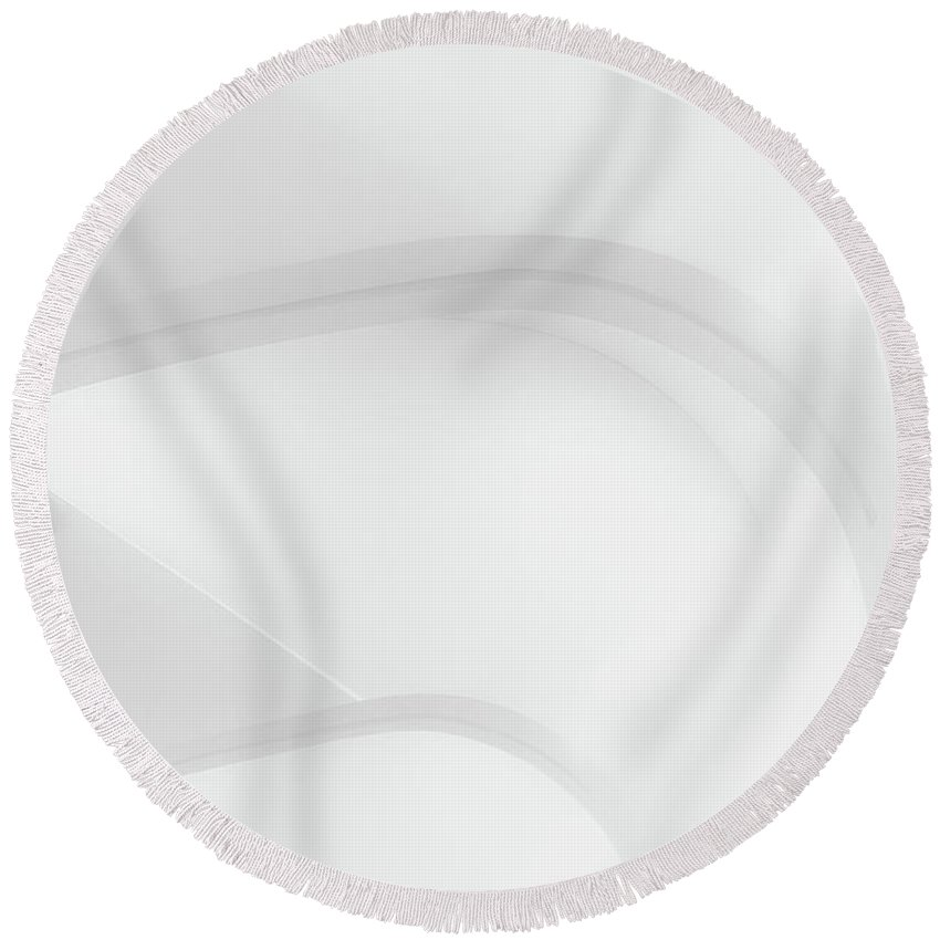 Black And White Round Beach Towel featuring the photograph Curved Lines 2 by Scott Norris
