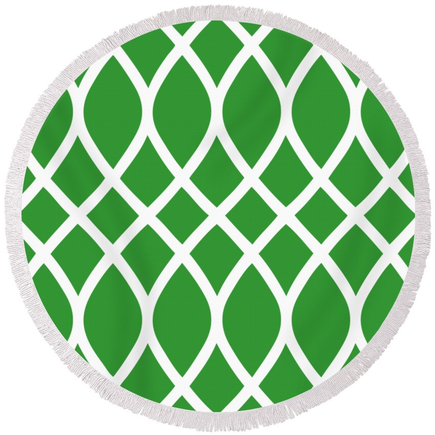 Curved Trellis Round Beach Towel featuring the digital art Curved Trellis With Border In Dublin Green by Custom Home Fashions