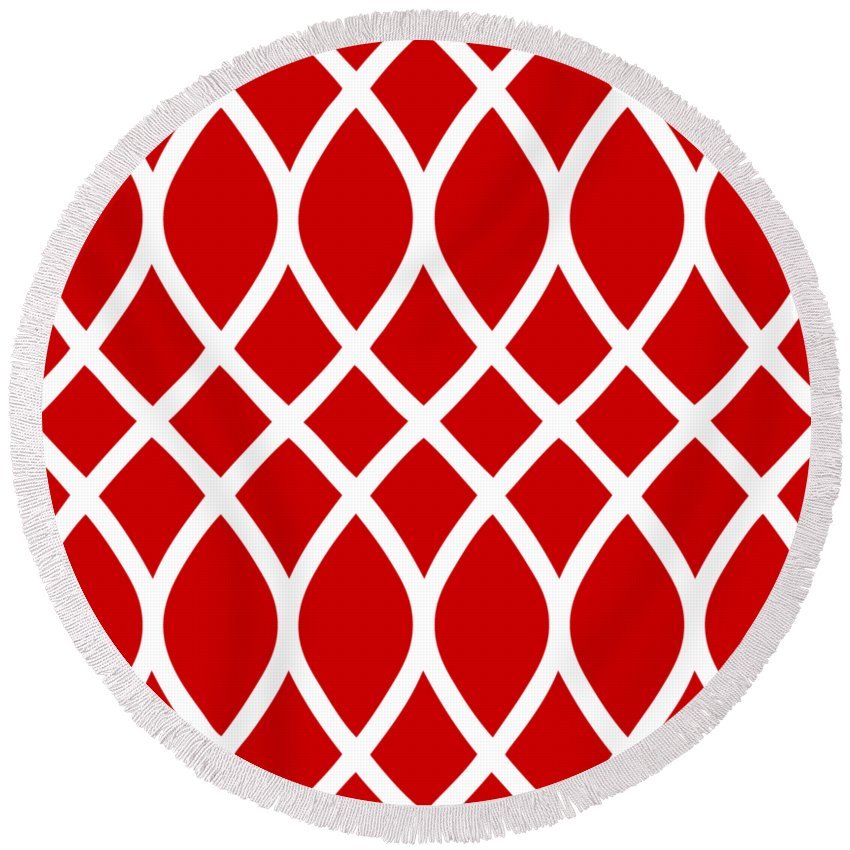 Curved Trellis Round Beach Towel featuring the digital art Curved Trellis With Border In Red by Custom Home Fashions
