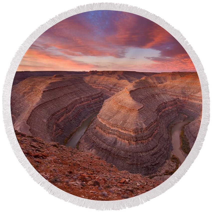 Canyon Round Beach Towel featuring the photograph Curves Ahead by Mike Dawson