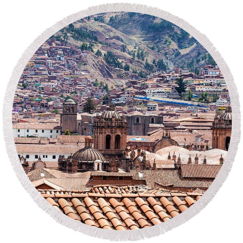 Cusco Round Beach Towel featuring the photograph Cusco Cityscape by Jess Kraft