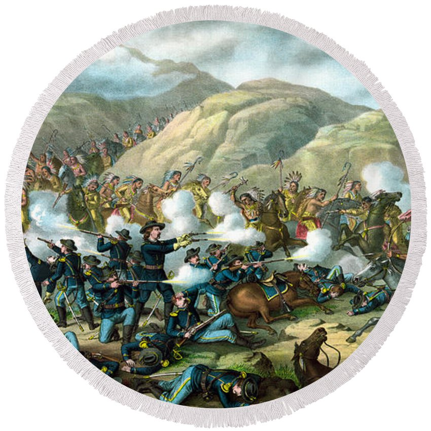 General Custer Round Beach Towel featuring the painting Custer's Last Stand by War Is Hell Store