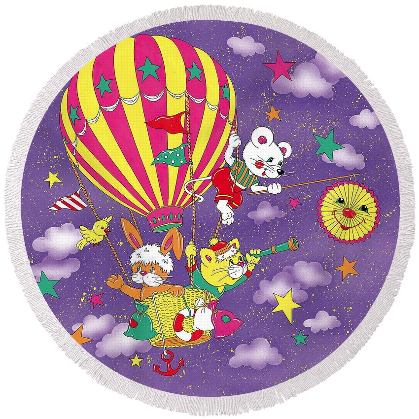 Cute Round Beach Towel featuring the mixed media Cute Animals In Air Balloon by Patrick Hoenderkamp
