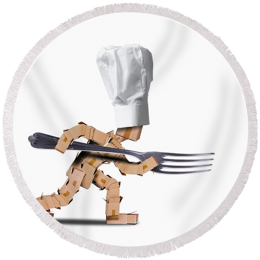 Kitchen Round Beach Towel featuring the photograph Cute Chef Box Character With Big Fork by Simon Bratt Photography LRPS