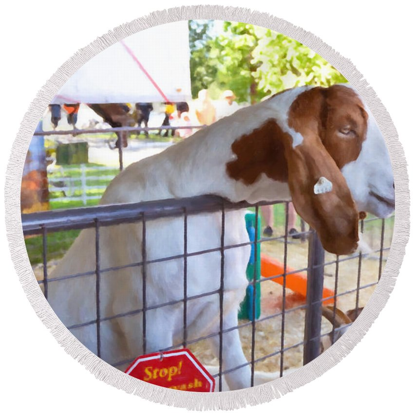 Cute Goat Round Beach Towel featuring the painting Cute Goat 1 by Jeelan Clark
