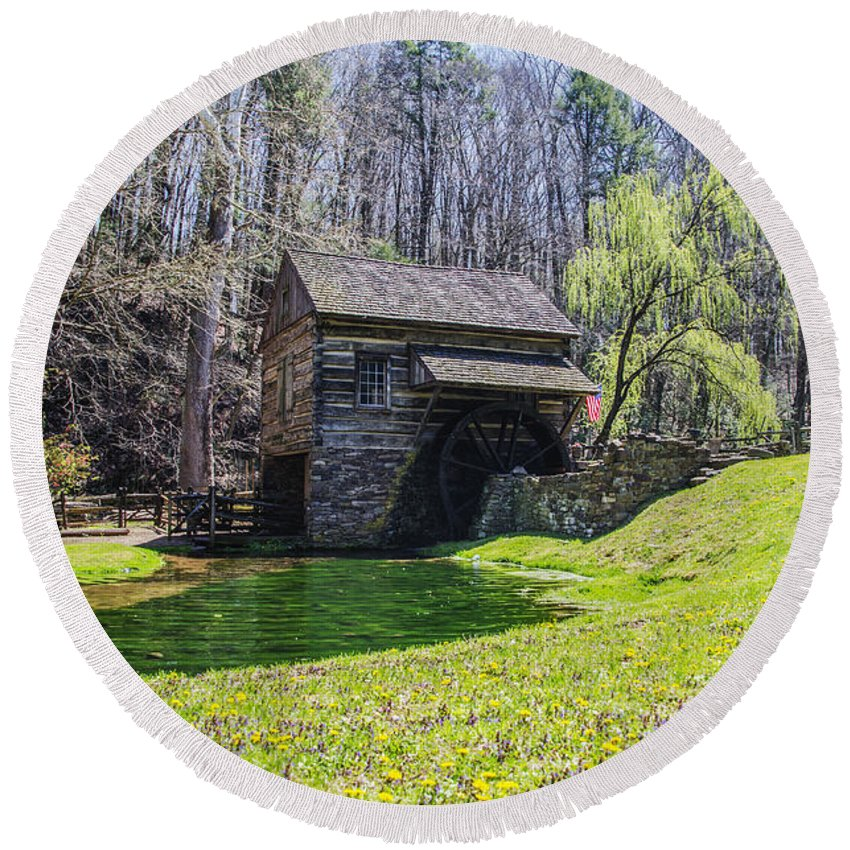 Cuttalossa Round Beach Towel featuring the photograph Cuttalossa Mill In The Springtime by Bill Cannon