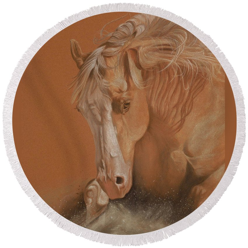 Horse Round Beach Towel featuring the painting Cutting Horse by Gail Finger