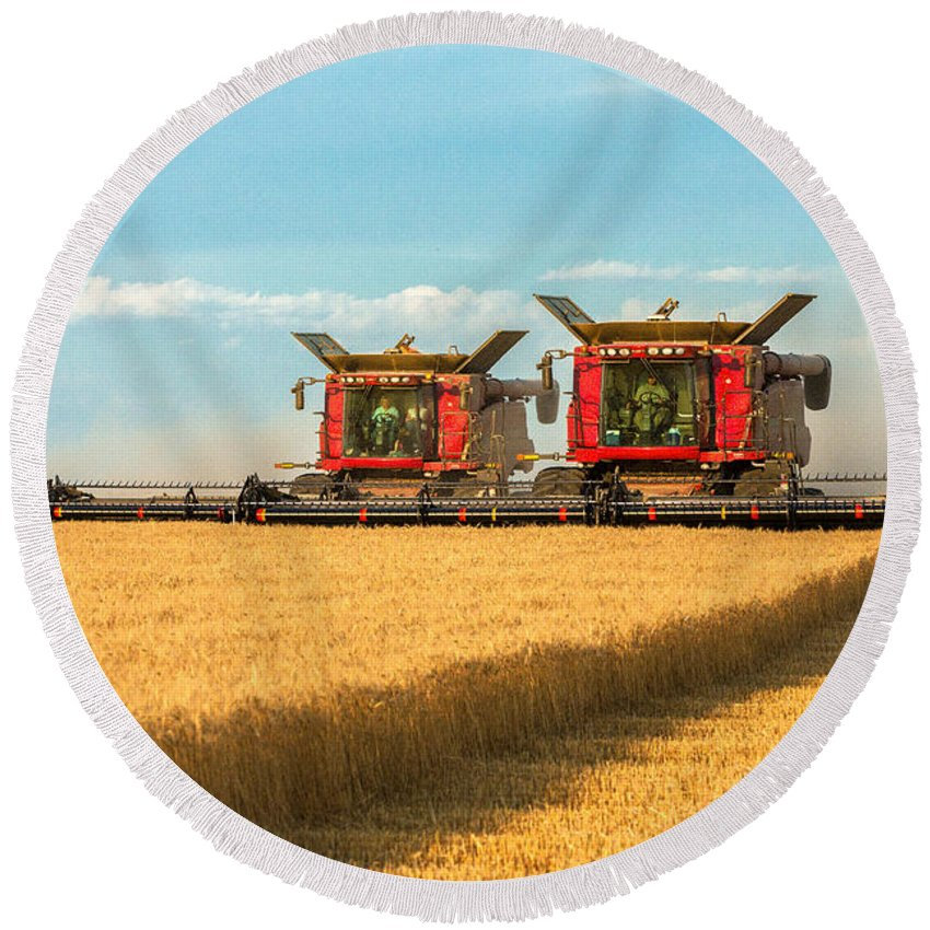 Two Round Beach Towel featuring the photograph Cutting Wheat by Todd Klassy
