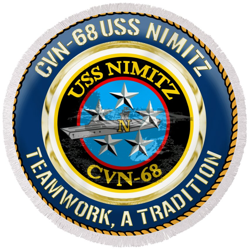 Cvn Round Beach Towel featuring the digital art Cvn-68 Uss Nimitz by Mil Merchant