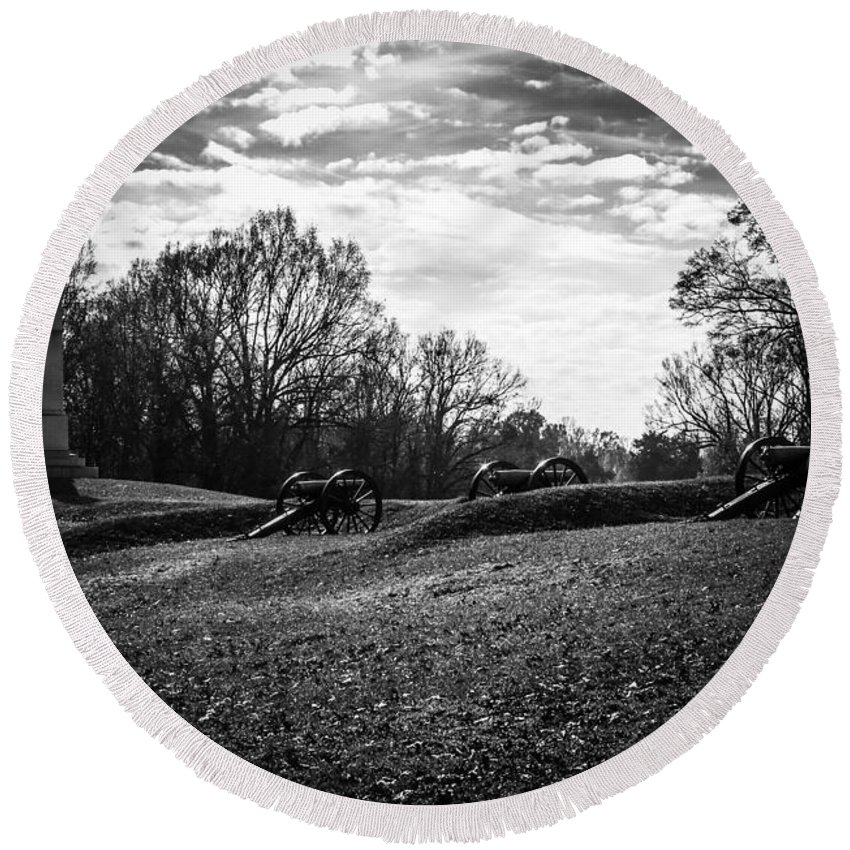 Civil Round Beach Towel featuring the photograph Cw Park 7 by Kristopher Bedgood