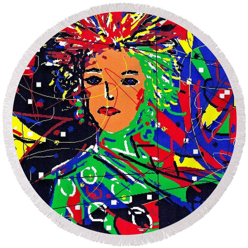Woman Round Beach Towel featuring the digital art Cyberspace Goddess by Natalie Holland