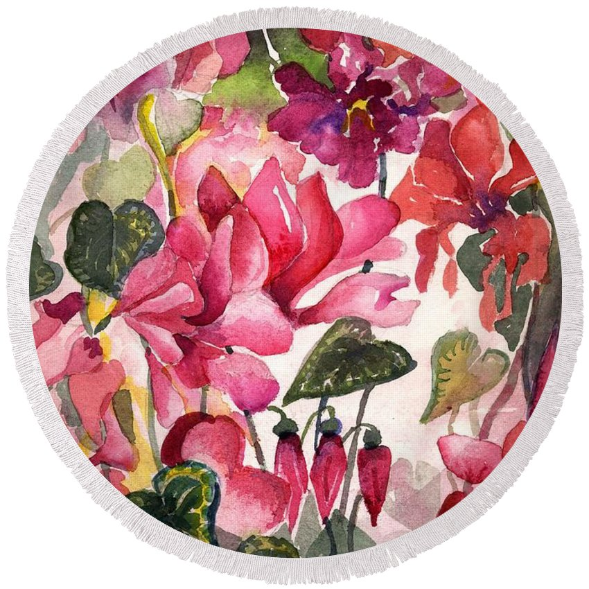 Cyclamen Round Beach Towel featuring the painting Cyclamen by Mindy Newman