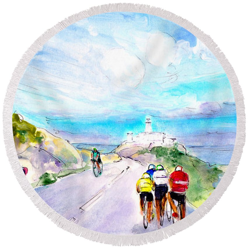 Travel Round Beach Towel featuring the painting Cycling In Majorca 02 by Miki De Goodaboom