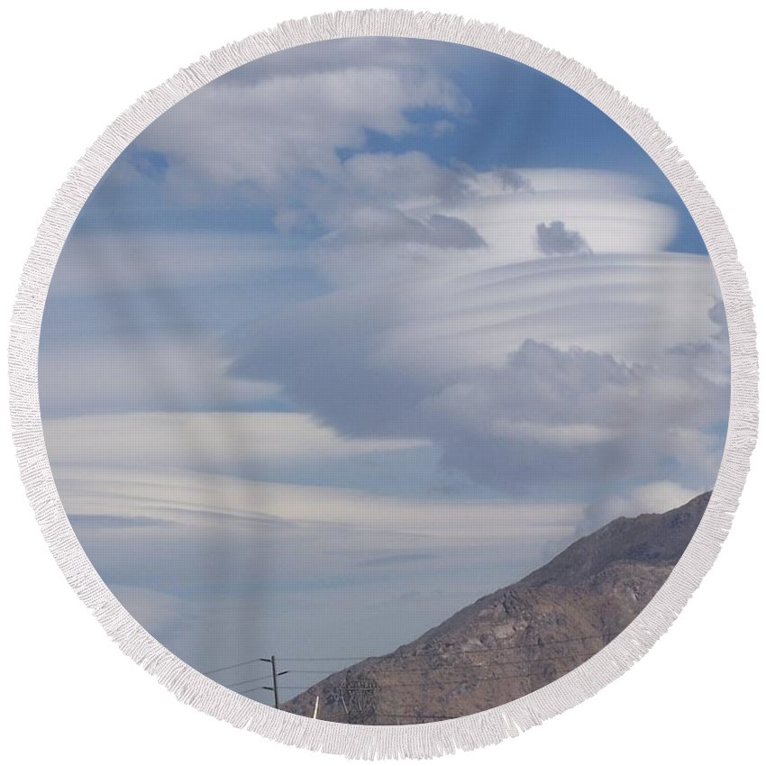 Clouds Round Beach Towel featuring the photograph Cyclone Cloud Crowd by The Wonder Dawg