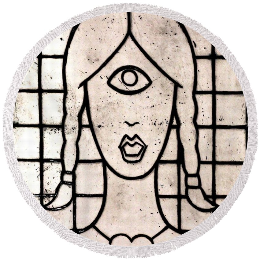 Clay Round Beach Towel featuring the painting Cyclops by Thomas Valentine