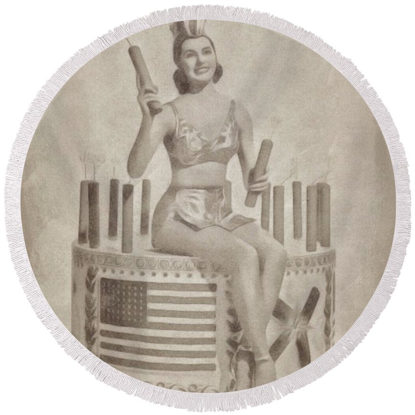 Hollywood Round Beach Towel featuring the drawing Cyd Charisse Hollywood Actress, Pinup And Dancer by John Springfield