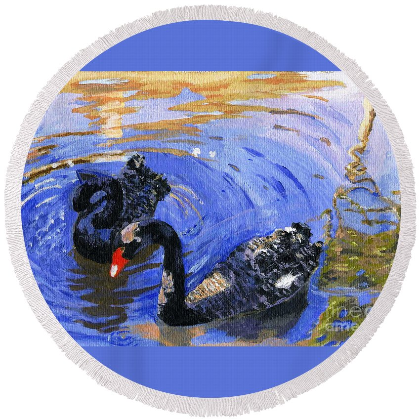 Acrylic Round Beach Towel featuring the painting Cygnus Atratus by Lynne Reichhart