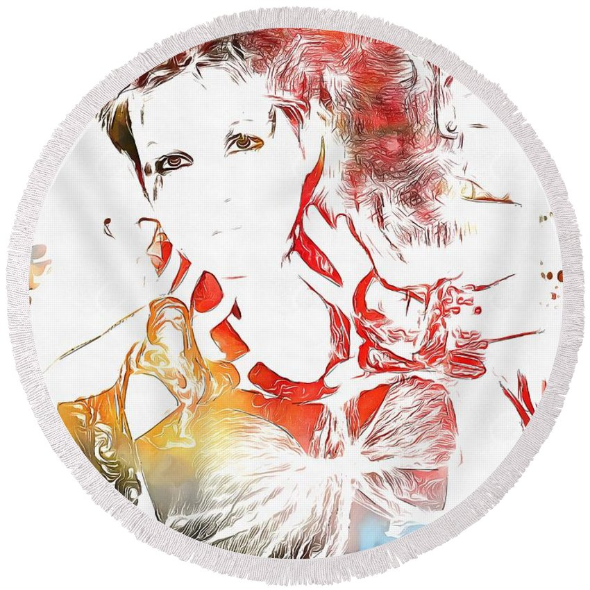 Cyndi Lauper Watercolor Round Beach Towel featuring the painting Cyndi Lauper Watercolor by Dan Sproul