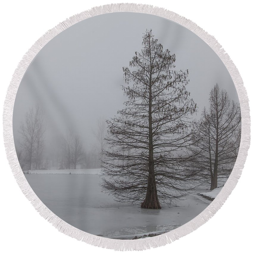 2015 Round Beach Towel featuring the photograph Cypress In The Fog by Larry Braun