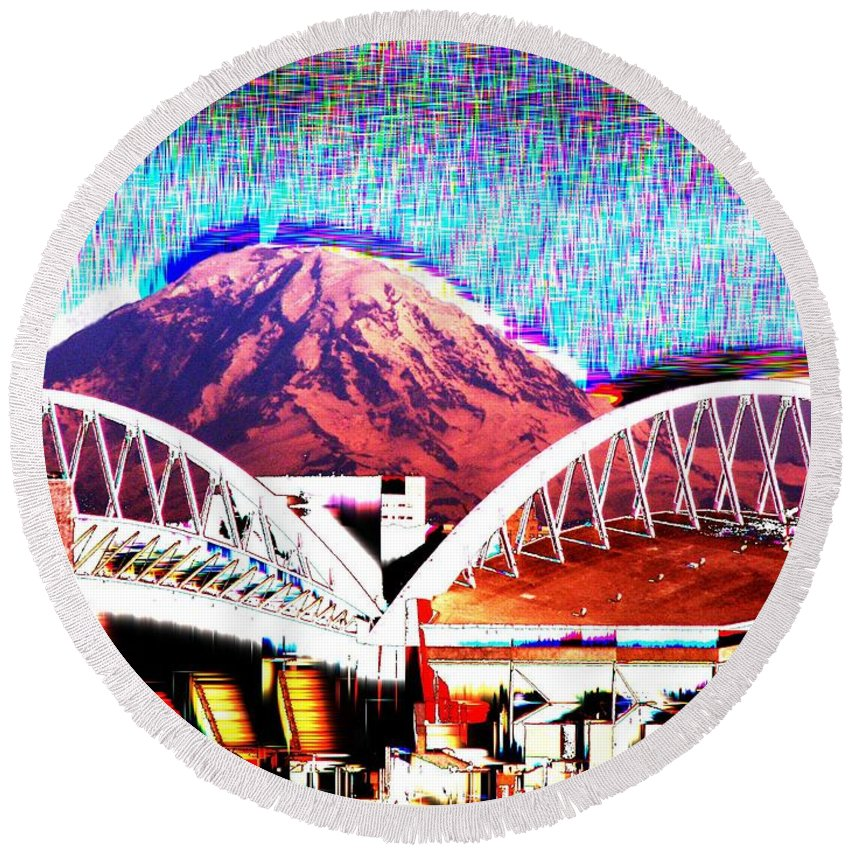 Seattle Round Beach Towel featuring the photograph Da Mountain And Stadia 2 by Tim Allen