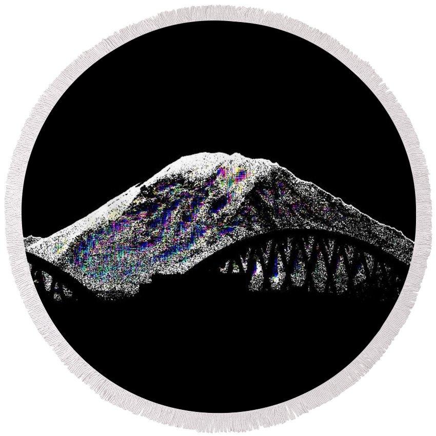 Mount Rainier Round Beach Towel featuring the digital art Da Mountain And Stadia by Tim Allen