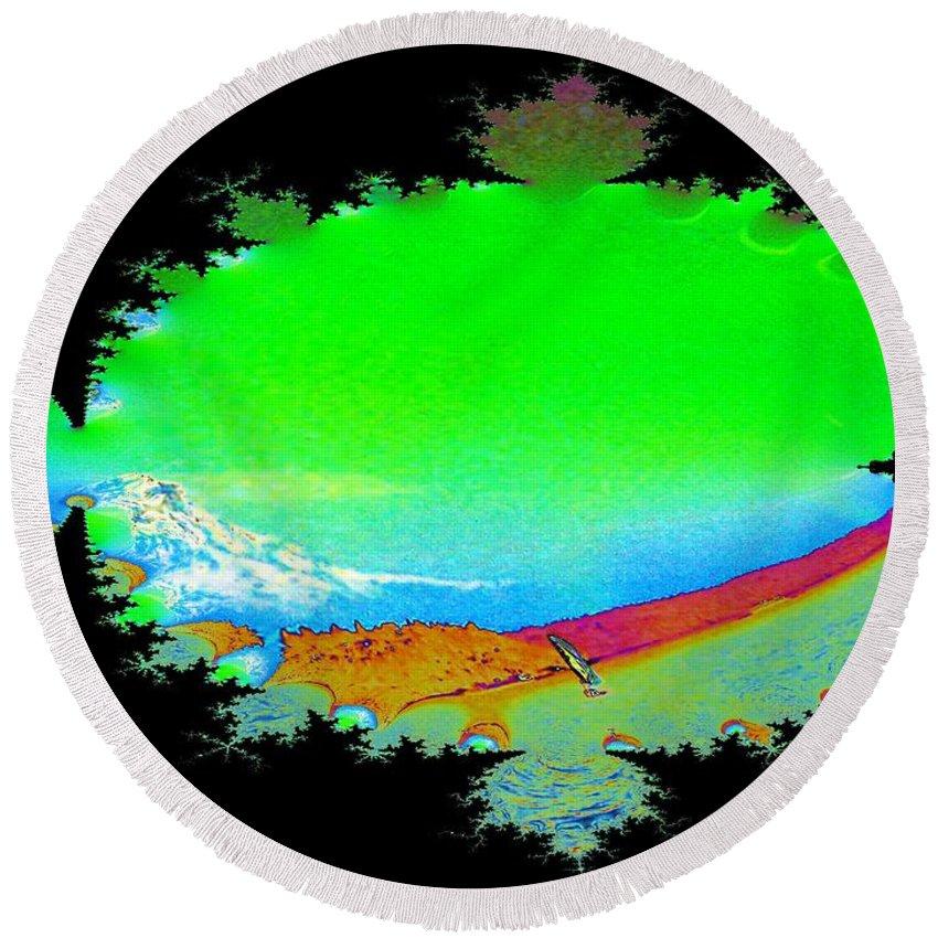 Washington Round Beach Towel featuring the digital art Da Mountain Sail In Fractal by Tim Allen