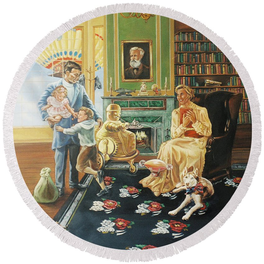 Fantasy Round Beach Towel featuring the painting Daddys Home by Bryan Bustard