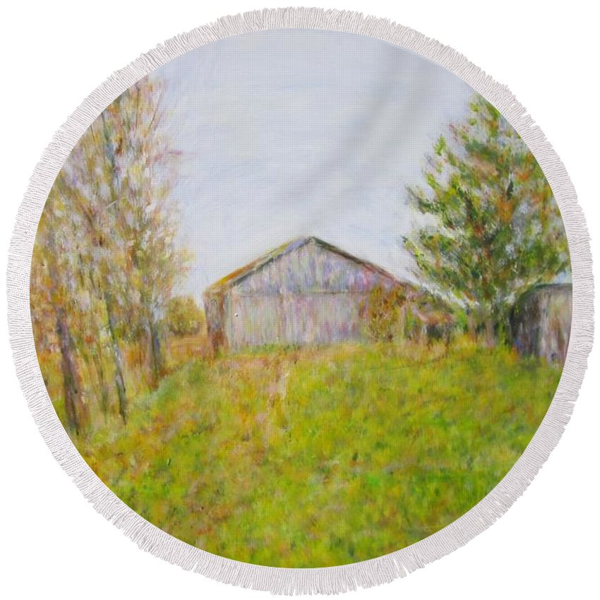 Impressionism Round Beach Towel featuring the painting Dad's Barnyard by Glenda Crigger