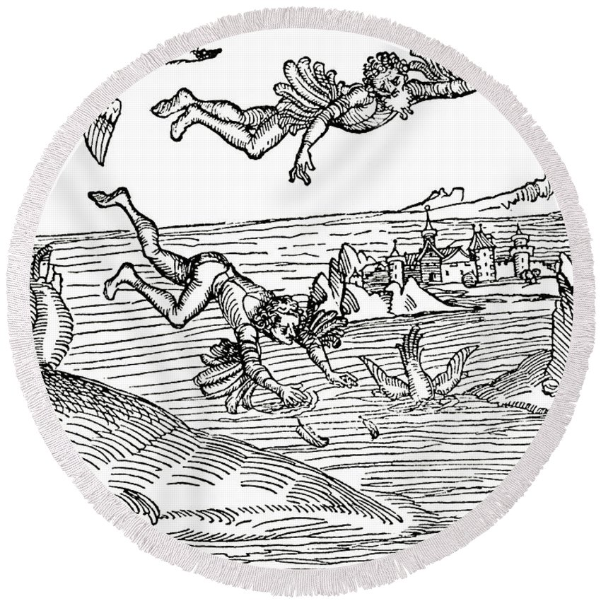 Icarus Round Beach Towel featuring the drawing Daedalus And Icarus by German School
