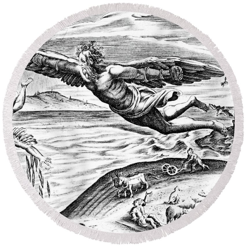 Icarus Round Beach Towel featuring the drawing Daedalus Escaping From Crete With His Son, Icarus, Sees Him Falling To His Death by French School