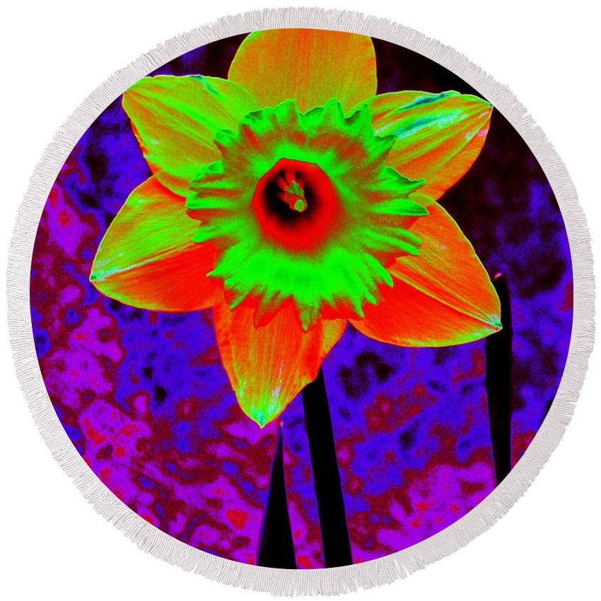 Daffodil Round Beach Towel featuring the photograph Daffodil 2 by Tim Allen