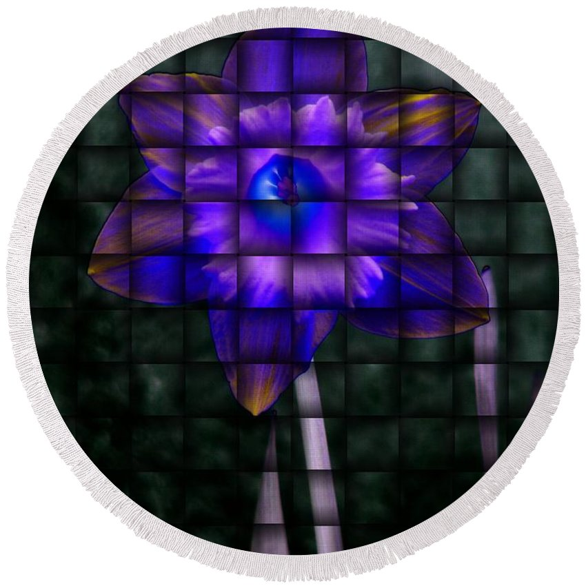 Daffodil Round Beach Towel featuring the photograph Daffodil Weave 2 by Tim Allen