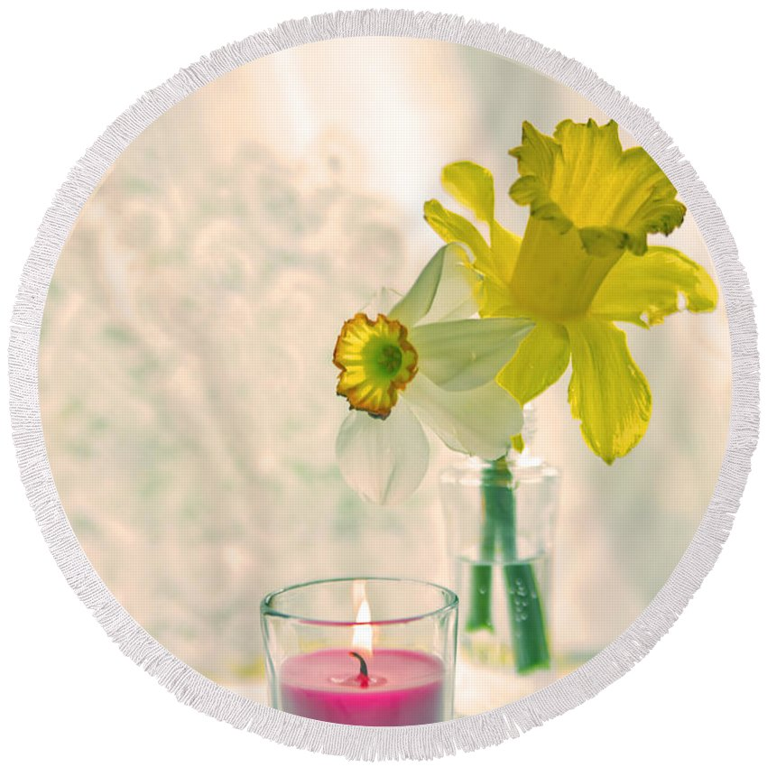 Daffodils Round Beach Towel featuring the photograph Daffodils And The Candle V3 by Alex Art and Photo