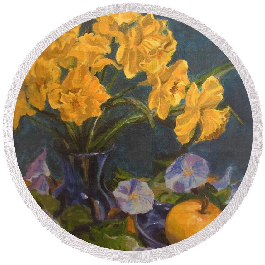 Still Life Round Beach Towel featuring the painting Daffodils by Karen Ilari