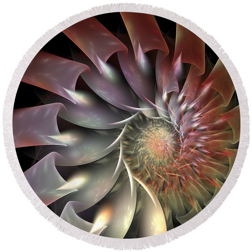 Fractal Round Beach Towel featuring the digital art Dahlia by Amorina Ashton