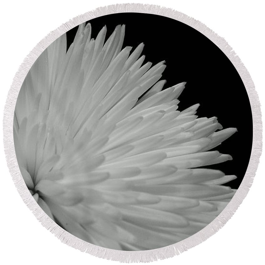Black And White Flower Photography Round Beach Towel featuring the photograph dahlia BnW by LKB Art and Photography