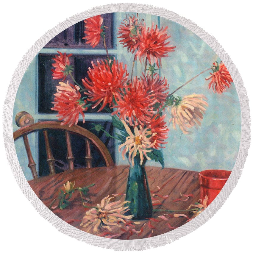 Still Life Round Beach Towel featuring the painting Dahlias With Red Cup by Donald Maier