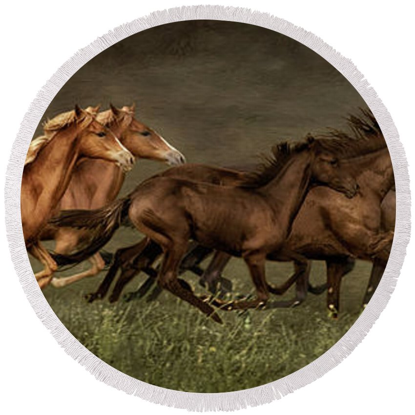 Horses Round Beach Towel featuring the digital art Daily Double by Priscilla Burgers