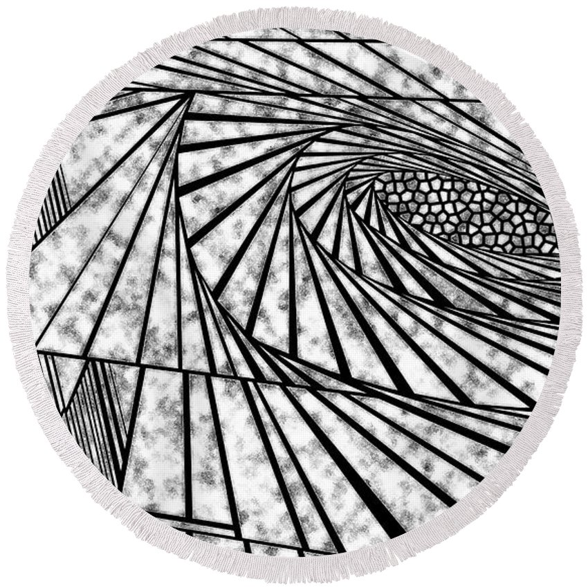 Dynamic Black And White Round Beach Towel featuring the painting Daily Triage by Douglas Christian Larsen